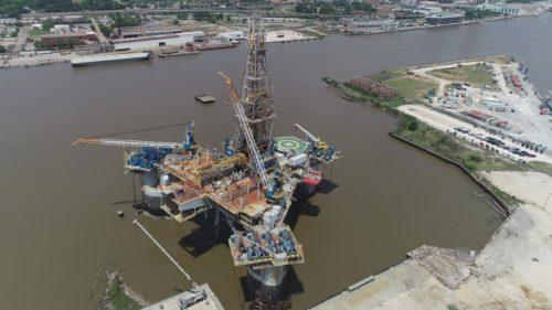 aerial of Amos Runner at Alabama Shipyard Mobile Bay east bank mobile river